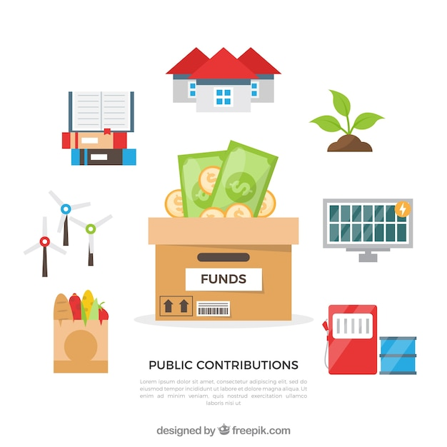 Public contributions concept Free Vector