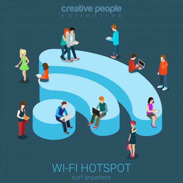 Концепция бесплатного беспроводного соединения зоны горячей точки wi-fi плоская равновеликая, интернет людей занимаясь серфингом на иллюстрации подиума wifi сформированной. Бесплатные векторы