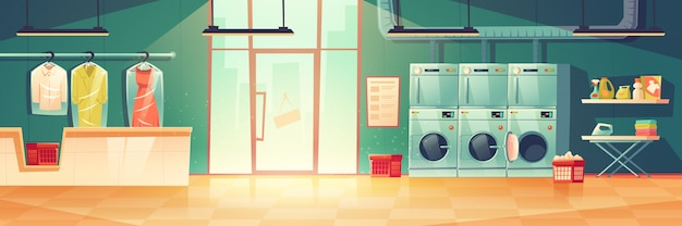 Public laundry or dry cleaning washing machines Free Vector