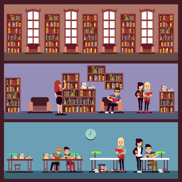 Public library banners concept with different students reading books. library university with bookcase, school and bookshelf with literature illustration Premium Vector