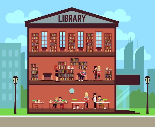 Public library concept Premium Vector
