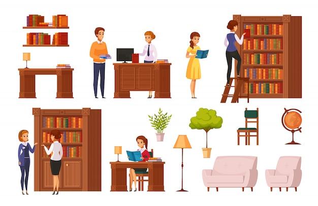 Плоские ортогональные элементы публичной библиотеки с книжными полками библиотекарь письменный стол аксессуары для посетителей Бесплатные векторы