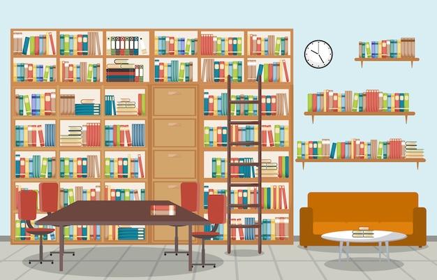 Public library interior stack of book on bookshelf flat Premium Vector