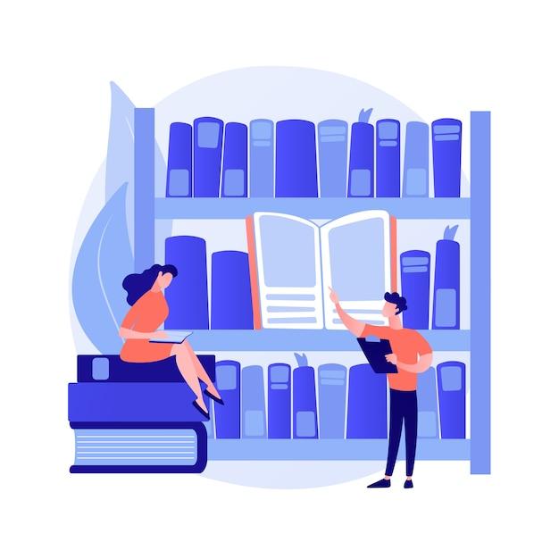 公共図書館の訪問者。科学研究、自習、教育センター。図書館の棚で本を探したり、教科書を読んだりする人。ベクトル分離概念比喩イラスト 無料ベクター