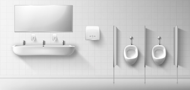 便器、洗面台、鏡付きの公衆男性トイレ 無料ベクター