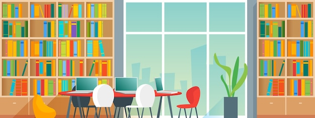 本棚と椅子付きのデスクを備えた公共またはホームライブラリのインテリア。漫画スタイルのイラスト Premiumベクター