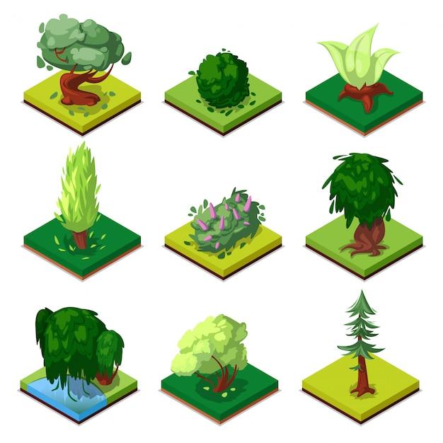 Public park decorative trees isometric 3d set Premium Vector