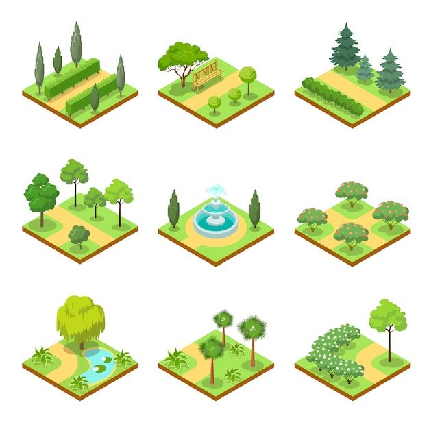 Public park landscapes isometric 3d set Premium Vector