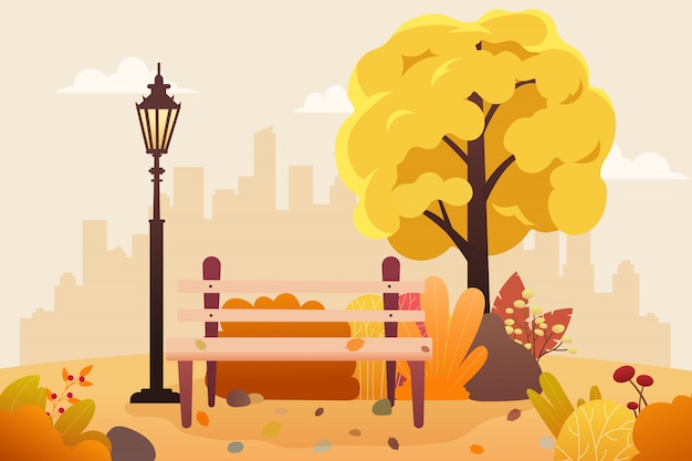 Public park with bench and leaves falling. Premium Vector