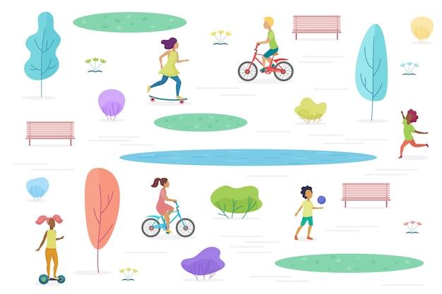 Общественный парк с изолированными гуляющими, верховыми и играющими детьми. парк развлечений для детей иллюстрации Premium векторы