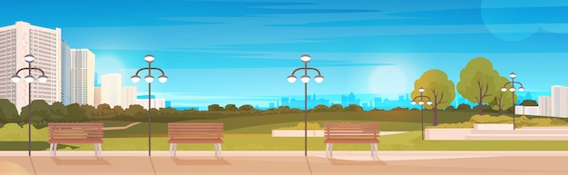 Public park with wooden bench and streetlights cityscape background horizontal Premium Vector
