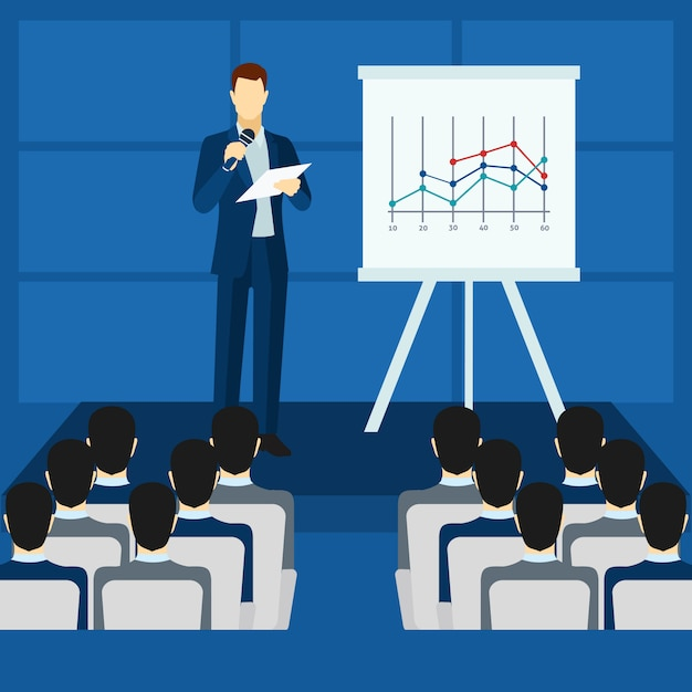 Public people speaking from podium poster Free Vector