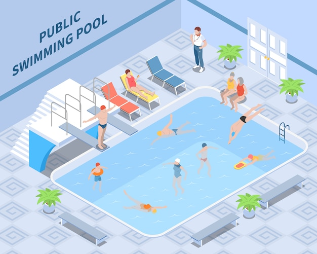 Public pool isometric composition with trainer visitors during swimming and rest interior elements Free Vector