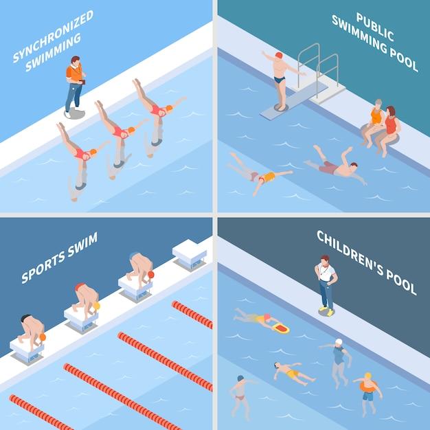 Общественный бассейн по синхронному плаванию, спортивная гонка и детский бассейн изометрической концепции изолированы Бесплатные векторы