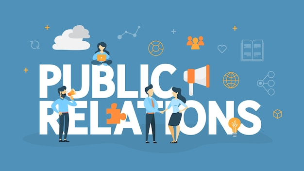 Public relations concept. idea of making announcements through mass media to advertise your business. management and marketing strategy.   illustration Premium Vector