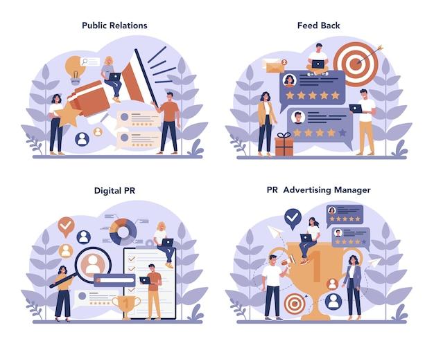 Public relations concept set Premium Vector