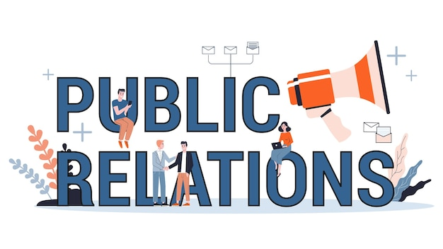 Public relations web banner  concept. idea of making announcements through mass media to advertise your business. management and marketing strategy.  illustration Premium Vector