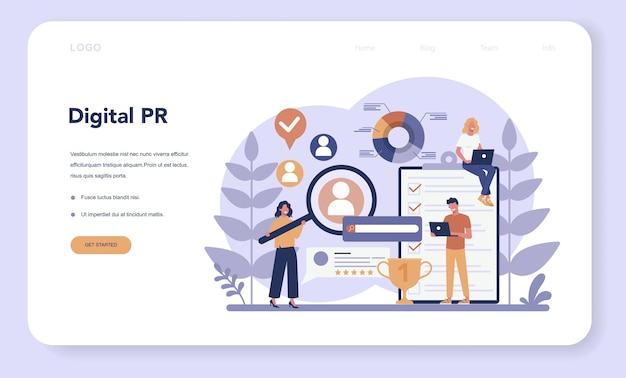 Public relations web banner or landing page. idea of making announcements through mass media to advertise your business. management and marketing strategy. Premium Vector