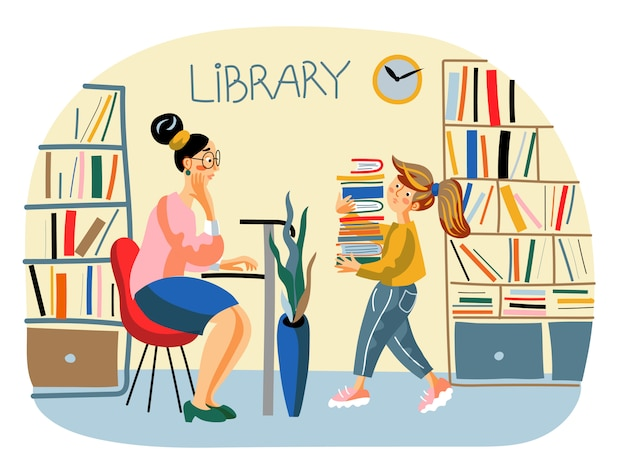 Public, school library illustration with librarian and schoolgirl with stack of books Premium Vector