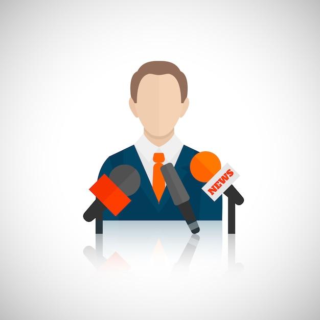Public speaking avatar Free Vector
