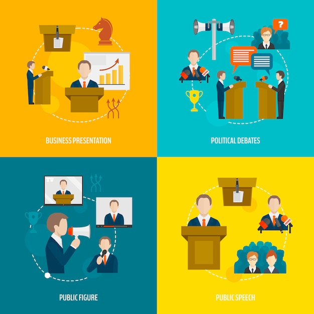 Public speaking flat elements composition set | Premium Vector