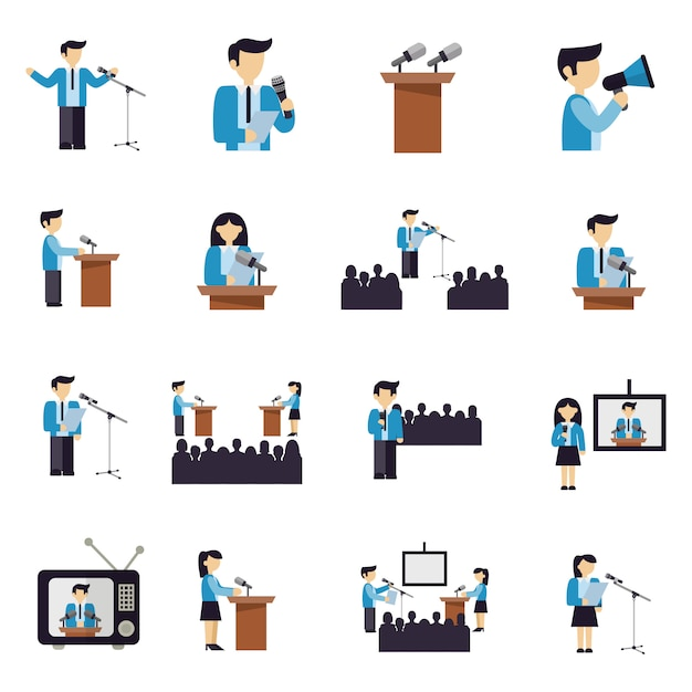 Public speaking icons flat Free Vector