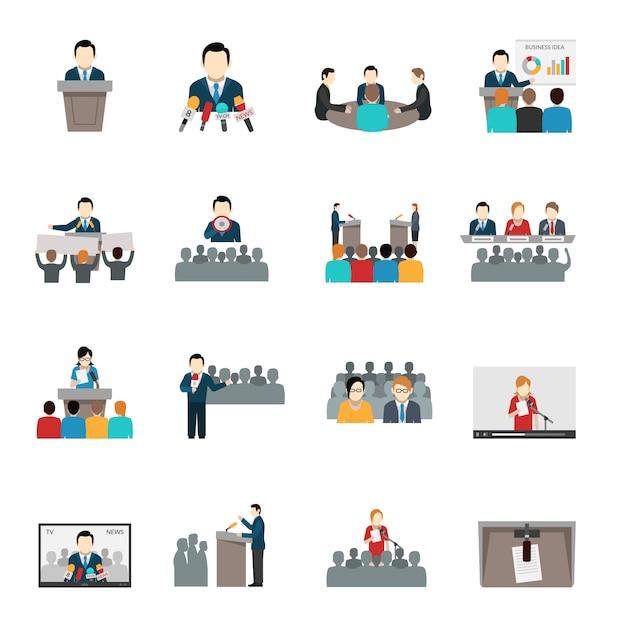Public speaking icons set Free Vector