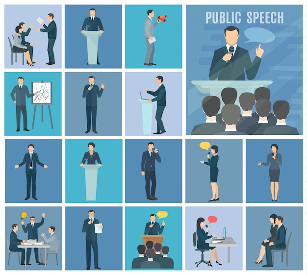 Public speaking to live audience workshops and presentations set blue background flat icons set Free Vector