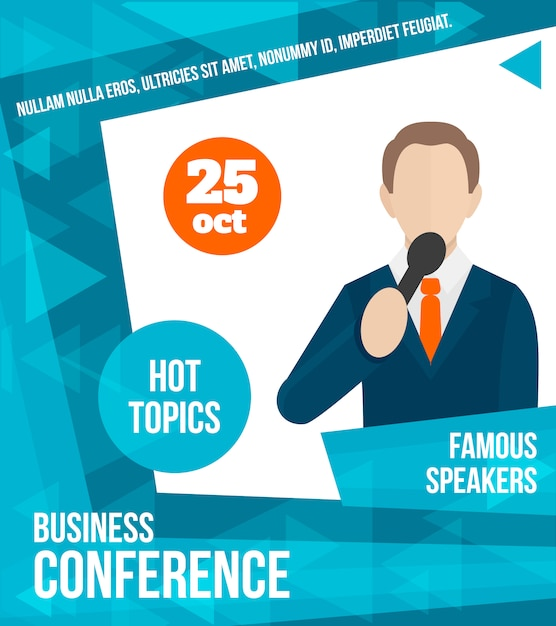Public speaking poster template, business conference Premium Vector