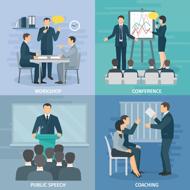 Public speaking skills coaching workshop presentation and conference 4 flat icons composition square Free Vector