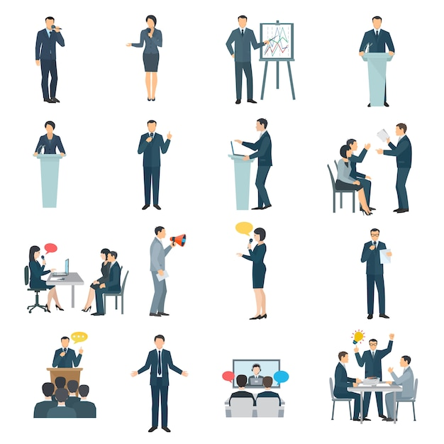 Public speaking skills flat icons collection Free Vector