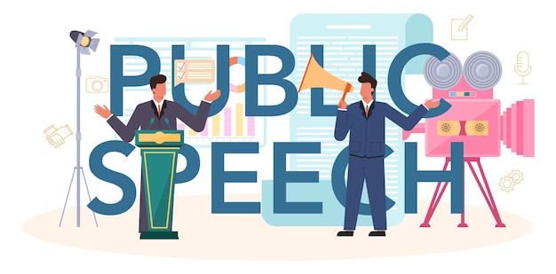Public speech typographic header. professional speaker or commentator speaking to a microphone. Premium Vector