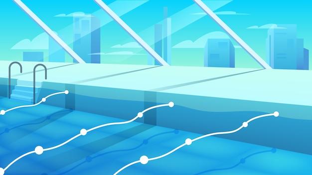 내부보기 공공 수영장. 칸막이가있는 행이있는 깨끗한 푸른 물이있는 스포츠 수영장. 스포츠 복합 수영장. 프리미엄 벡터