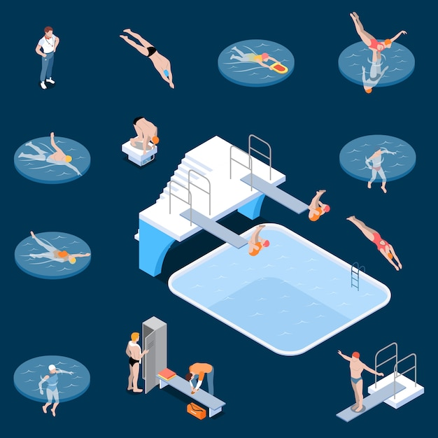 Public swimming pool sports equipment locker room elements and visitors isometric set dark  isolated Free Vector