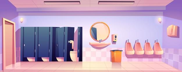 Public toilet for men, empty wc restroom interior Free Vector