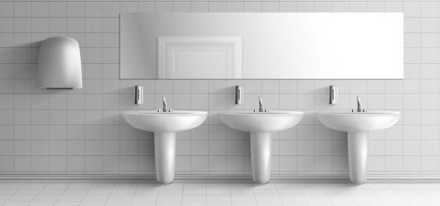 Public toilet minimalistic interior 3d realistic vector mockup. row of ceramic sink washbasins with metal faucet, soap dispensers, hand dryer unit and long mirror on white tilled wall illustration Free Vector