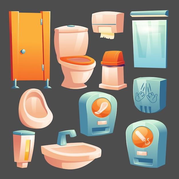 Кабинка для общественных туалетов, керамическая чаша и писсуар, контейнер с жидким мылом, урна для мусора и бумажные салфетки, автомат с гигиеническими прокладками и тампонами для женщин, сушилка для рук, зеркало мультфильм векторный набор Бесплатные векторы