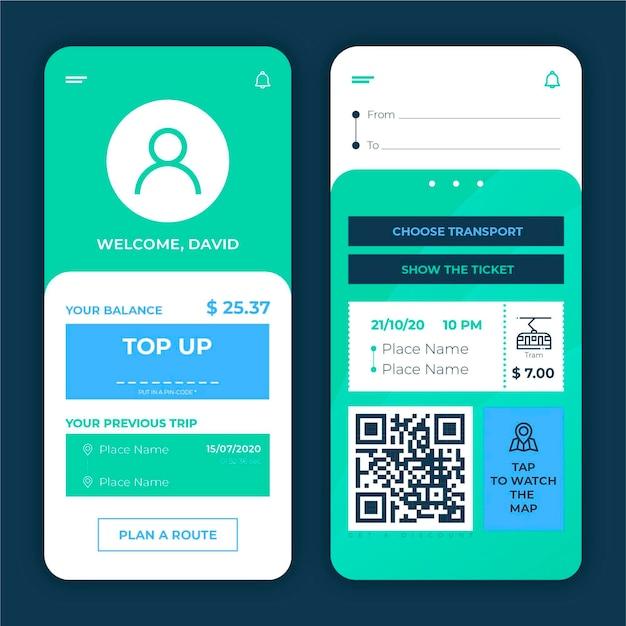 公共交通機関アプリのコンセプト 無料ベクター