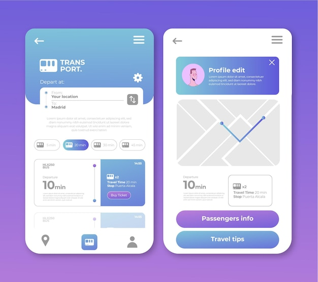 Public transport app design Free Vector