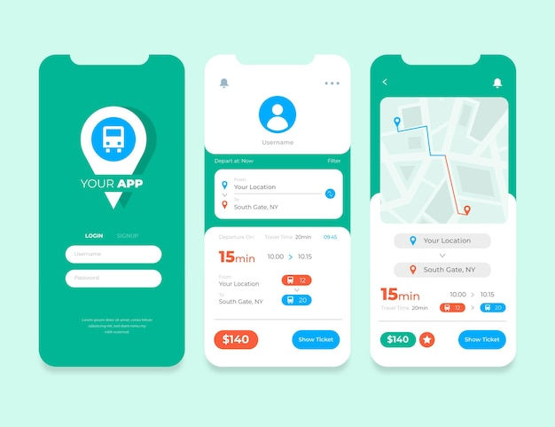 Public transport app interfaces collection Free Vector
