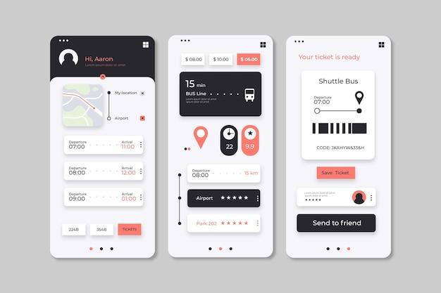 Пакет интерфейсов приложения общественного транспорта Бесплатные векторы