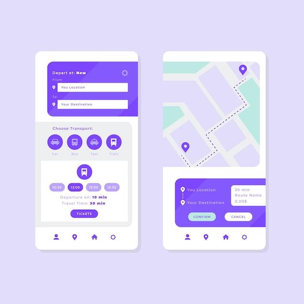 Набор интерфейсов приложения общественного транспорта Бесплатные векторы