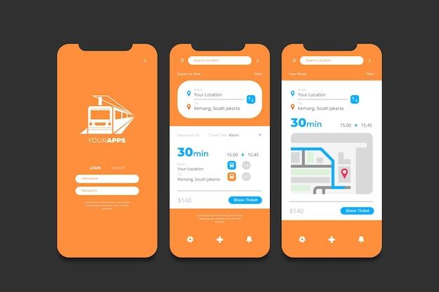 公共交通機関のアプリのインターフェース 無料ベクター