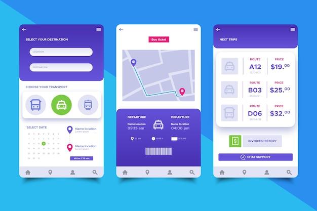 Коллекция экранов приложений общественного транспорта Premium векторы