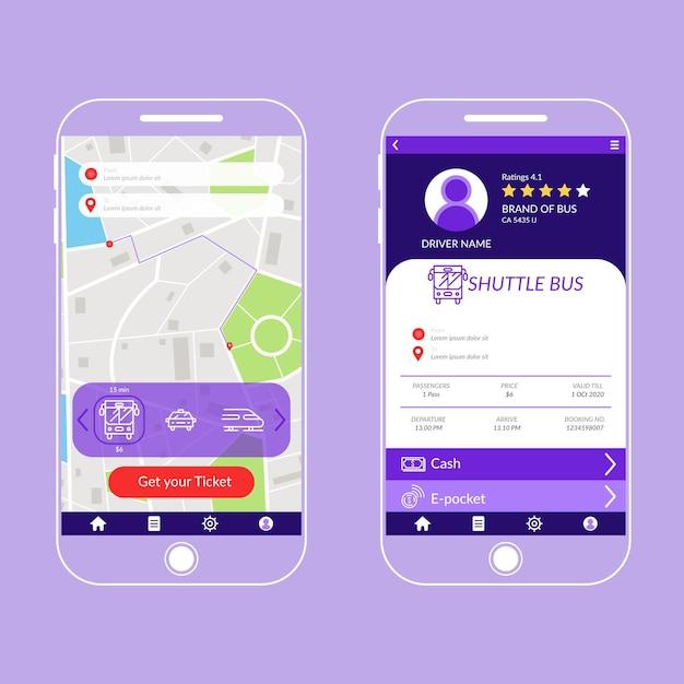 公共交通機関のアプリ画面 無料ベクター