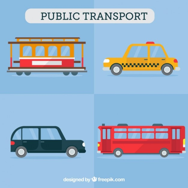 Public transport in flat design