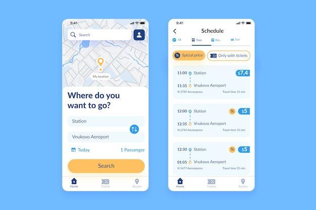 公共交通機関のモバイルアプリ 無料ベクター