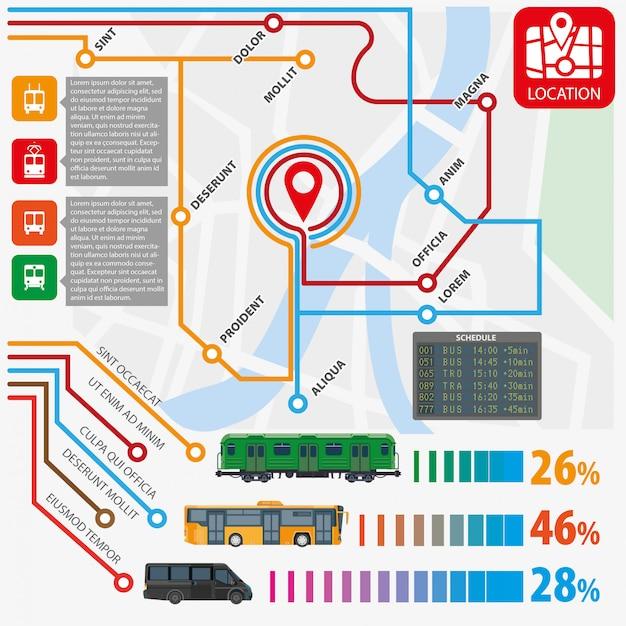 Public transport routes stations statistics Premium Vector