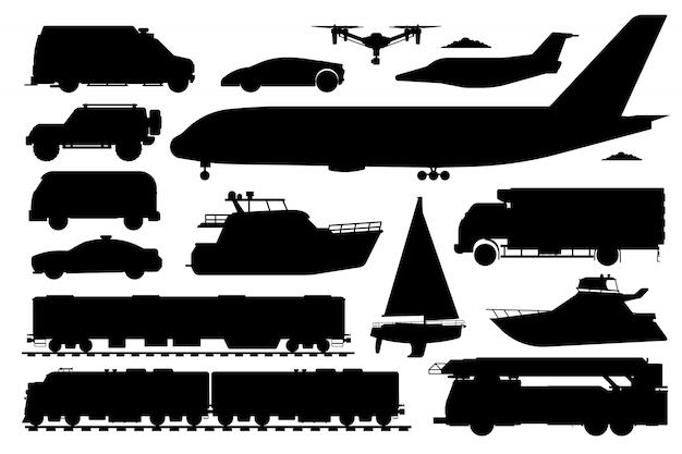 公共交通機関セット。乗用車のシルエット。孤立した公共列車、救急車、パトカー自動車、バス、飛行機、ヨット輸送フラットアイコンコレクション。道路、航空、海上輸送 Premiumベクター