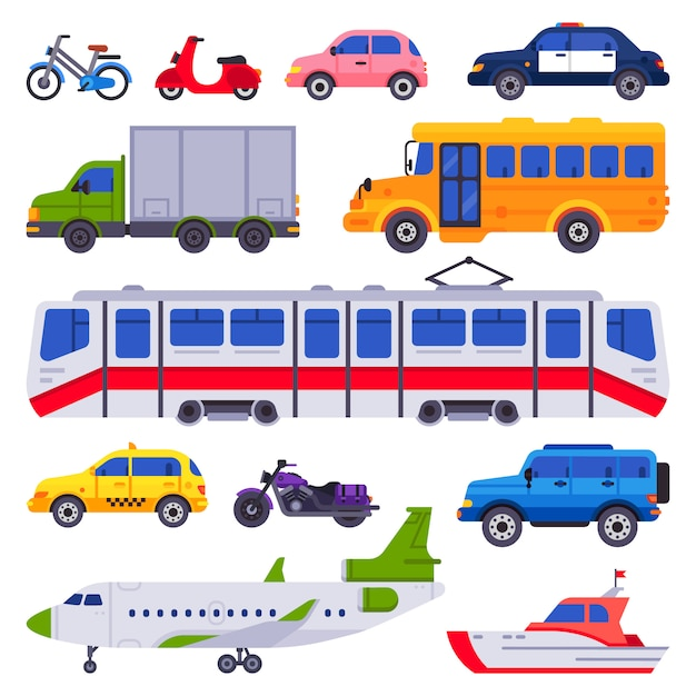 Public transport. taxi car vehicle, city train and urban transporter isolated cars  collection Premium Vector